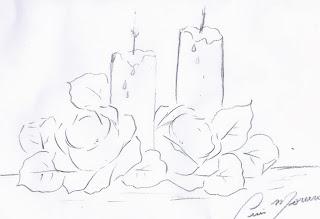 desenho de rosas e velas para pintar