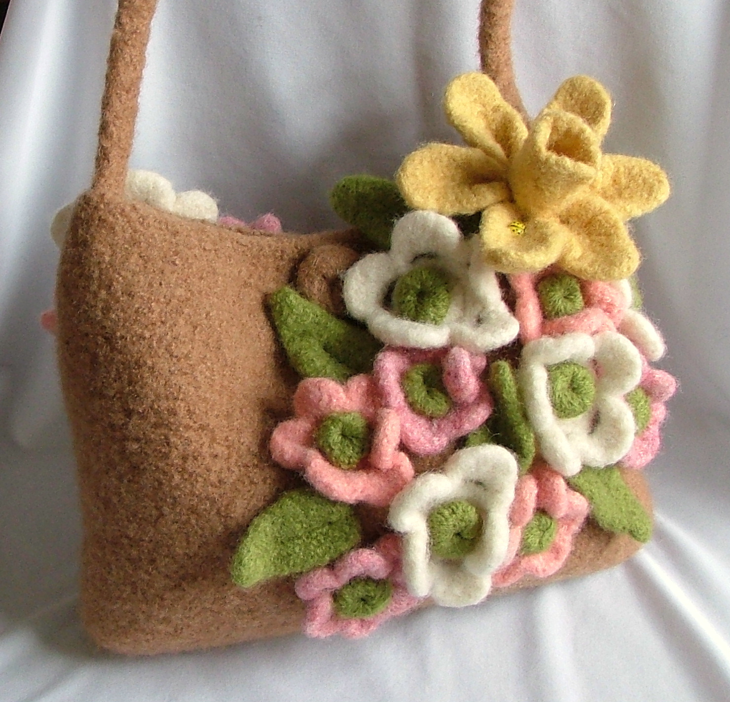 Felted wool crocheted purses