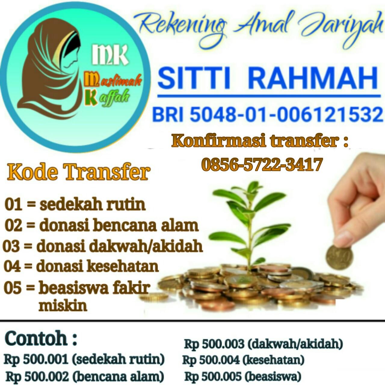 Rekening Amal Jariyah Muslimah Kaffah