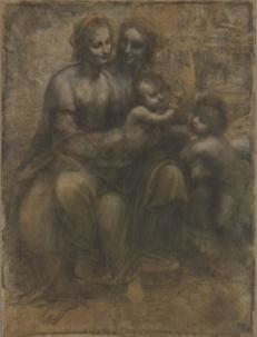 Carton prépartoire Sainte Anne Vinci dessin