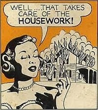 A Housewife Cooks and Cleans