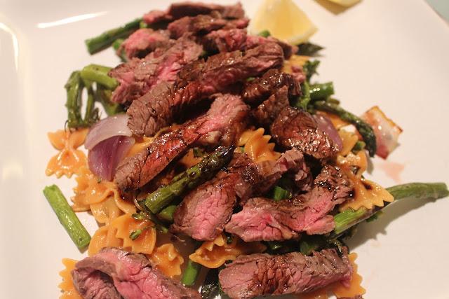 Steak and veggies with mini farfalle and balsamic glaze
