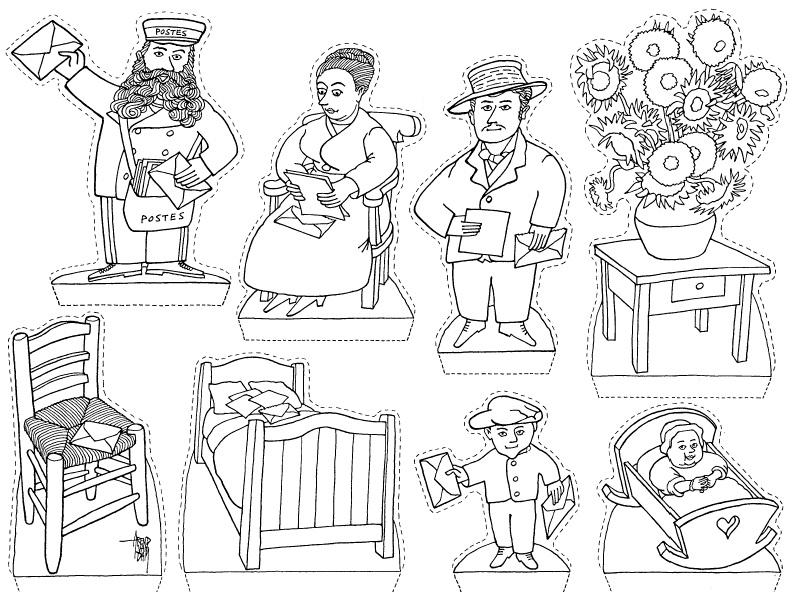 Ciao bambini coloring van gogh la famiglia roulin for Ciao bambini van gogh