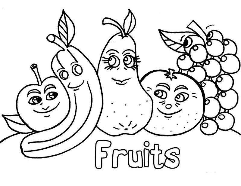 Funny Fruits Coloring Pages title=