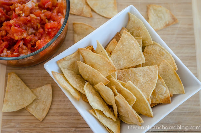 DIY Home Baked Tortilla Chips. Recipe from Simply Anchored