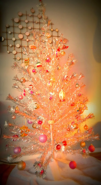 1950's aluminum xmas tree shiny brites vintage just peachy, darling