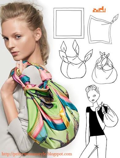 чанта с къса дръжка от шал