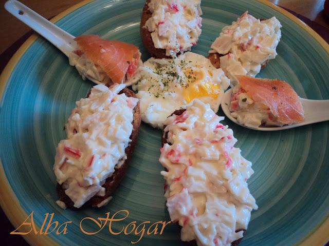 pinchos de salmón y cangrejo alba hogar