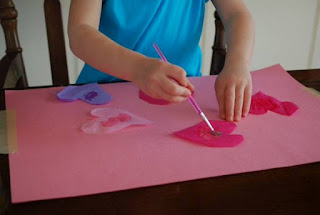 use tissue paper to make paint project for toddlers