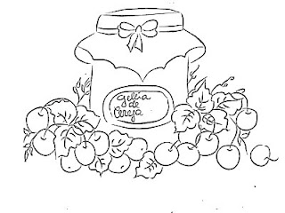 desenho pote de geleia de cereja para pintar