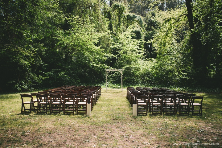 rustic chic ceremony details