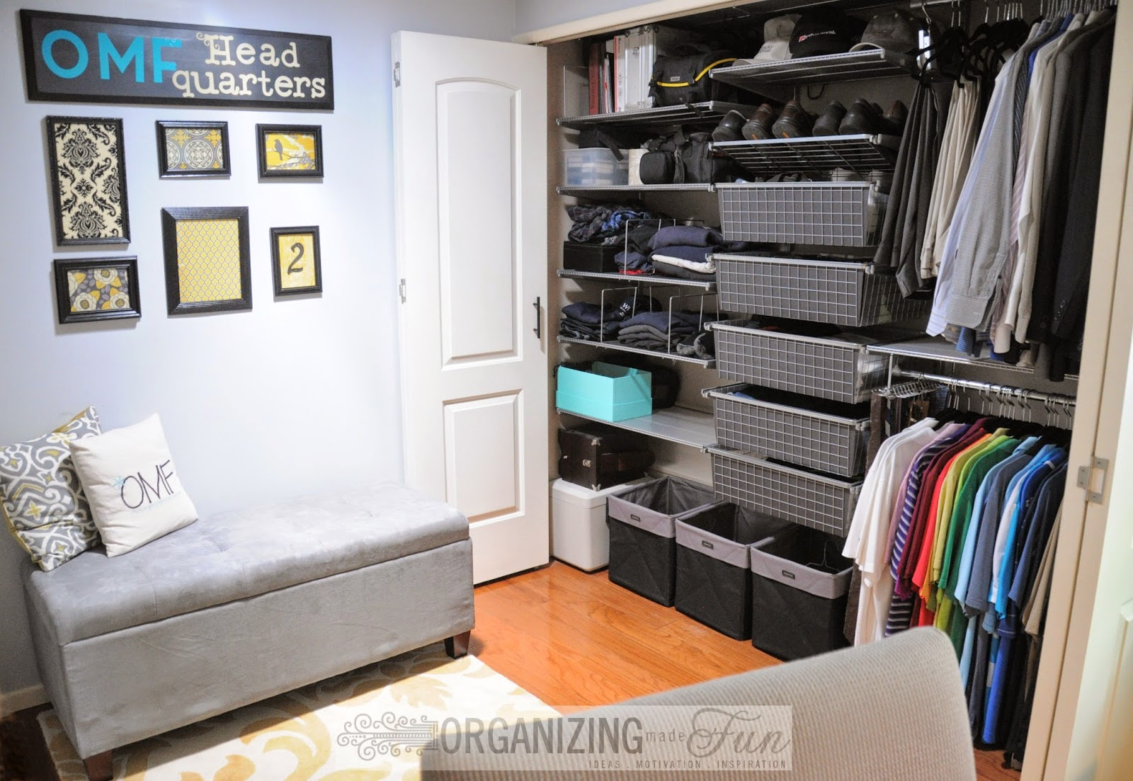 Sharing an office with the husband's closet :: OrganizingMadeFun.com