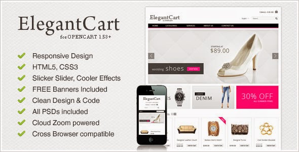 ElegantCart - Template OpenCart Premium ... themeforest free download ... template opencart terbaru gratis... Java Templates ..