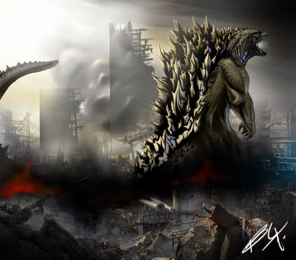 Gambar Godzilla 2014 Pertarungan Godzila vs MUTO Giant Monster