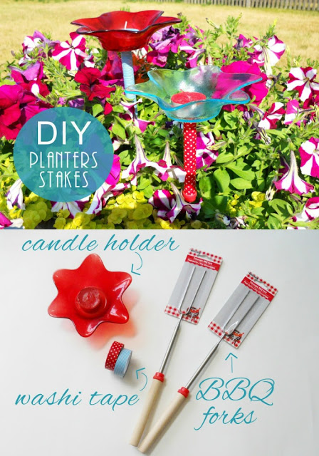 DIY Planter Stakes: What do you get when you cross BBQ forks with washi tape?