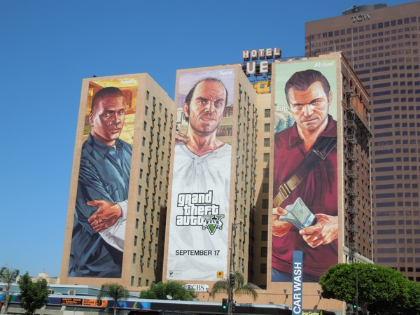 Giant Grand Theft Auto 5 video game billboard ads