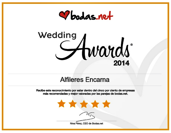 Premio 1ª Edición Premios Bodas.net: Wedding Awards 2014