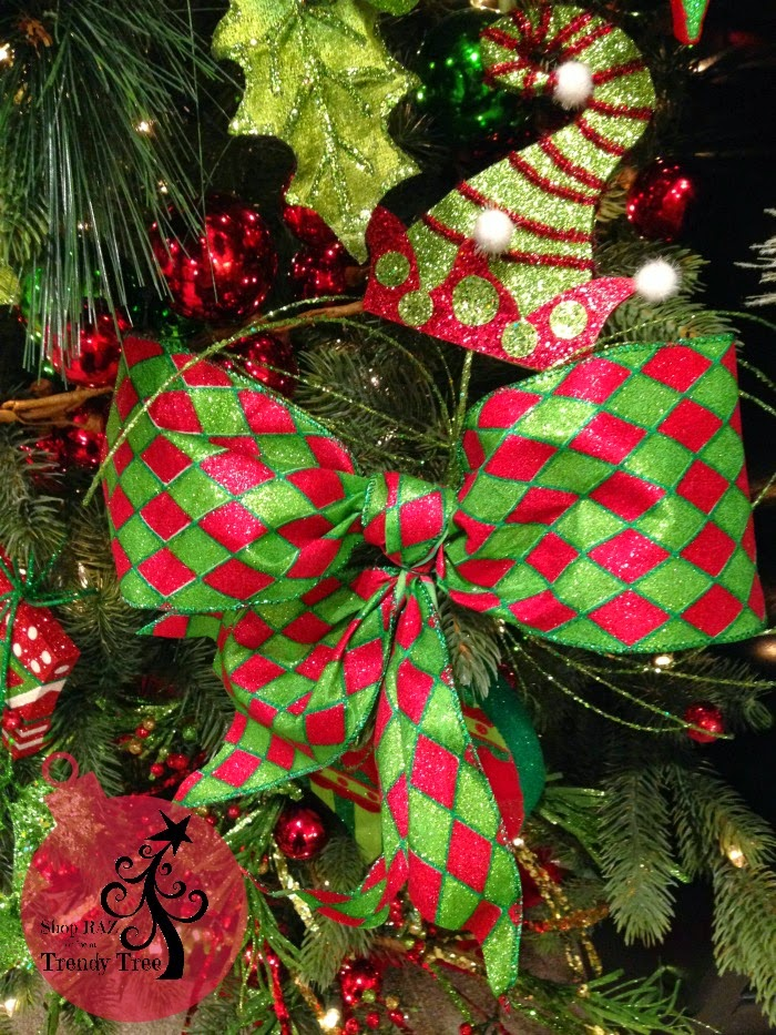 RAZ Red Green Harleqin Ribbon at Trendy Tree