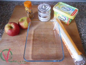 Ingredientes para el tatín de manzana.