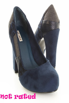 Navy Faux Suede Leather Fabric Patches Pump Heels