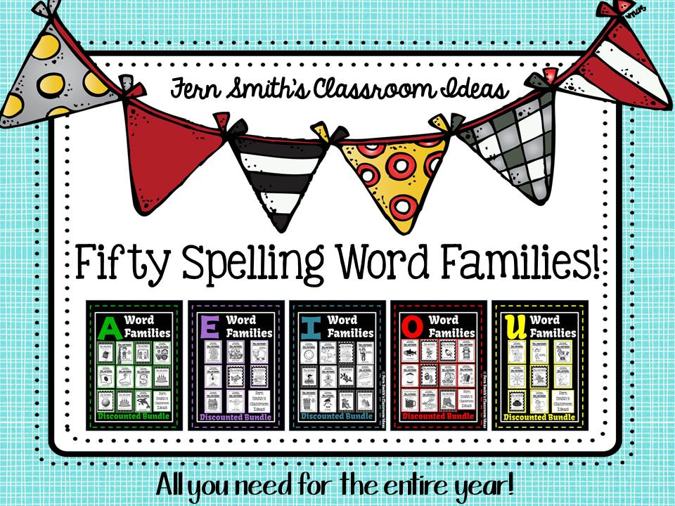 A Year's Worth of Spelling Word Families for Kindergarten to Second Grade Giveaway!