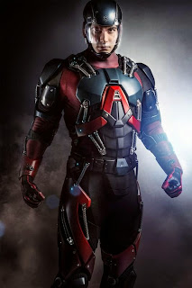 Brandon Routh in Atom's costume on Arrow tv show