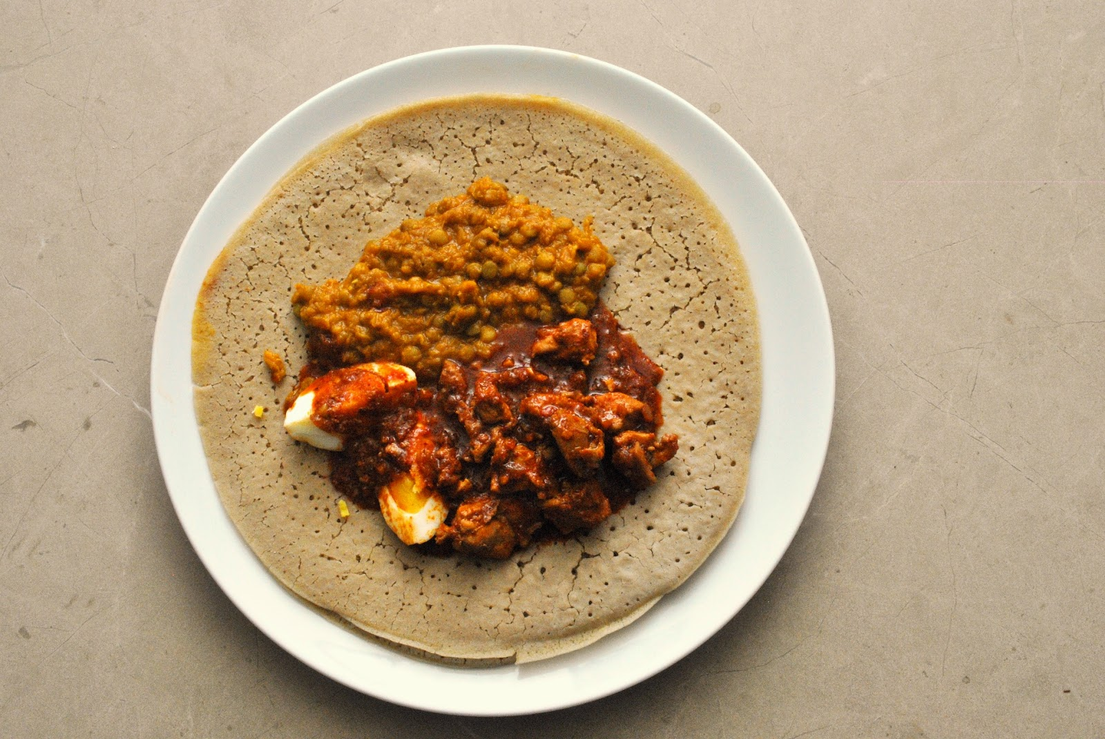 Ethiopian Feast of Injera, Doro Wat, and Mesir Wat