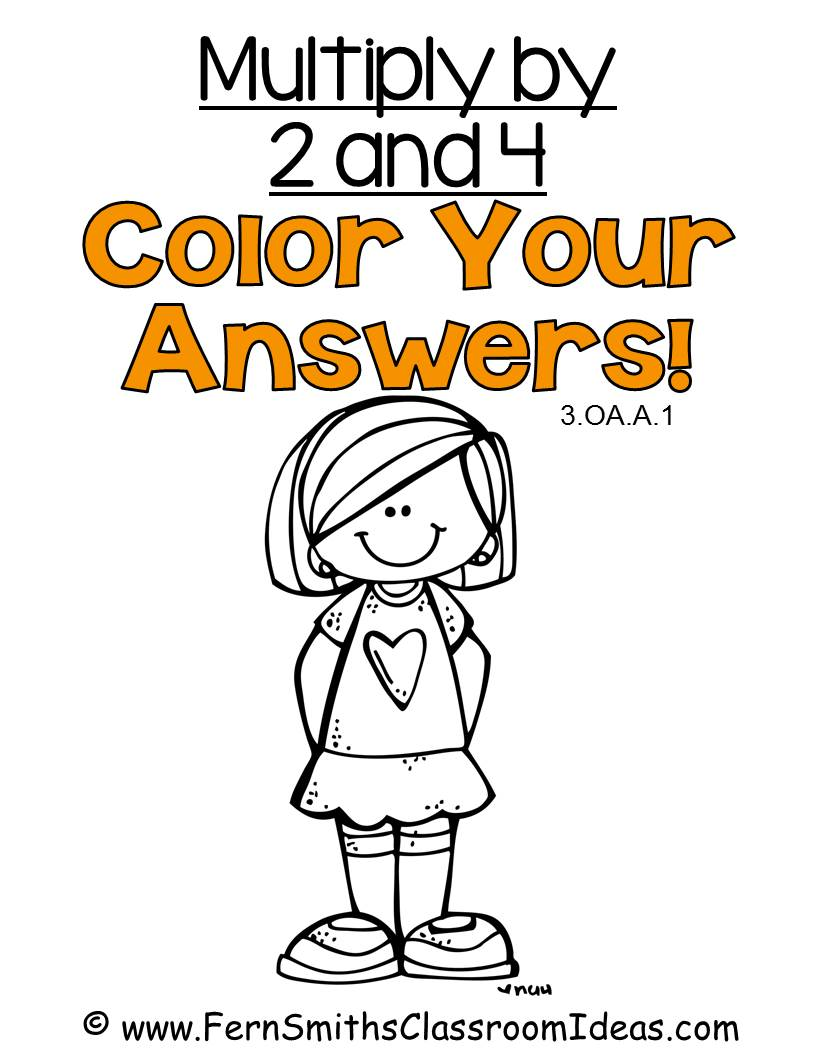 Fern Smith's Classroom Ideas Multiply with 2 and 4 - Color Your Answers Printables for 3.OA.A.1