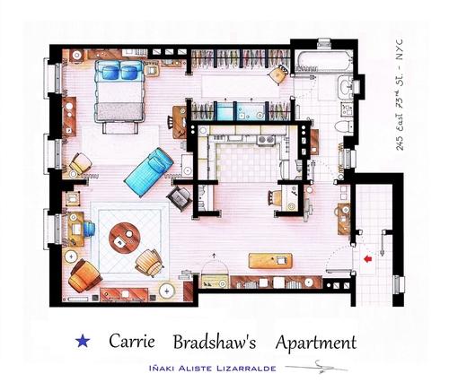 05-Sex-And-The-City-Carrie-Bradshaw-Apartment-Floor-Plan-Inaki-Aliste-Lizarralde