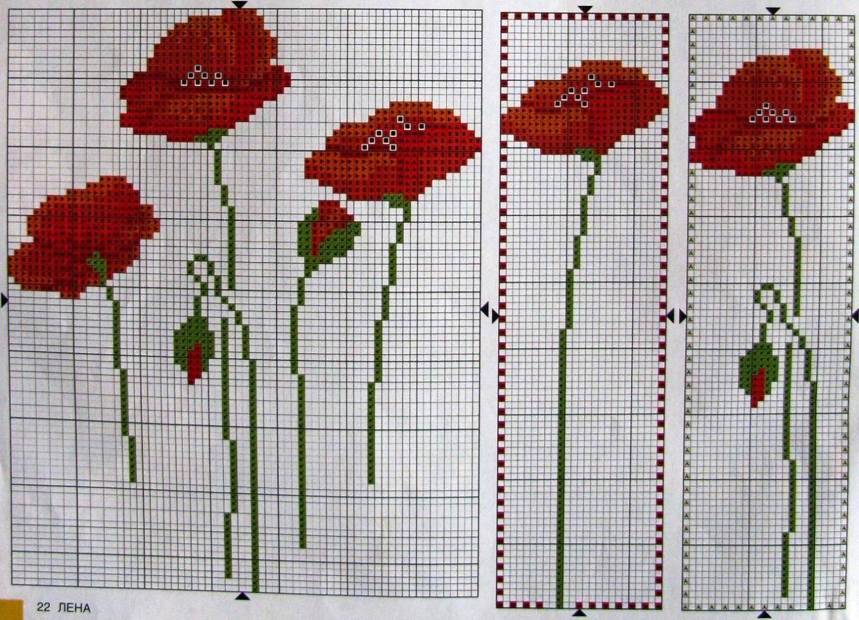 Схема вышивки крестиком один мак 282