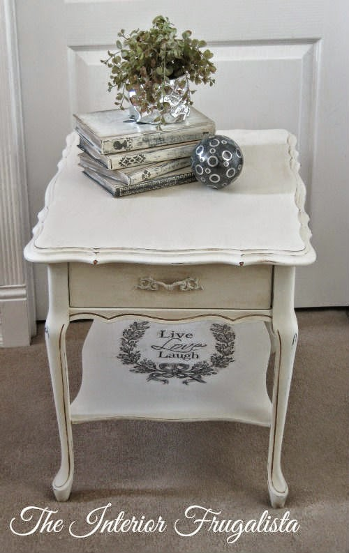 Rectangular French Provincial Side Table After Makeover