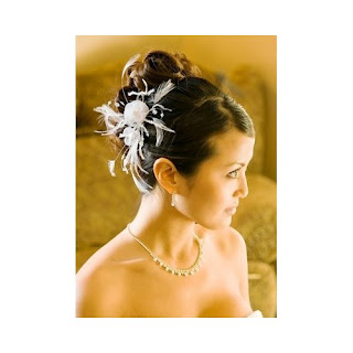 IVORY Bridal Feather Hair Piece Accent with Crystals