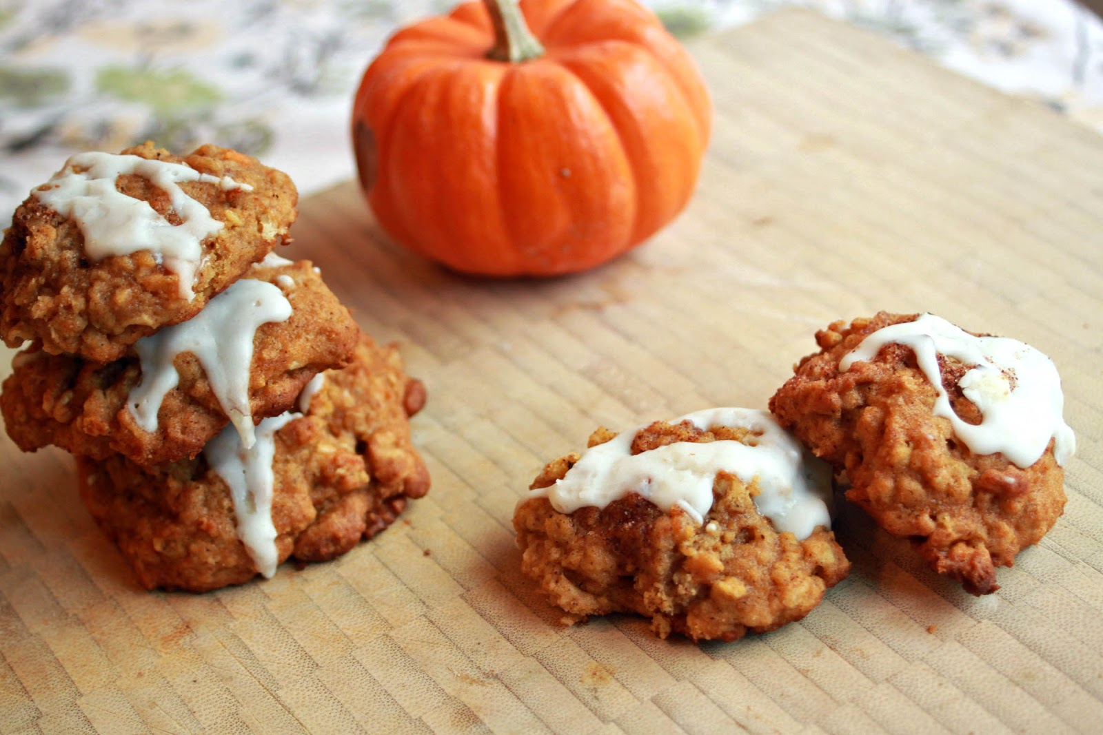 pumpkin oatmeal cookies with cream-cheese icing (recipe modified from ...