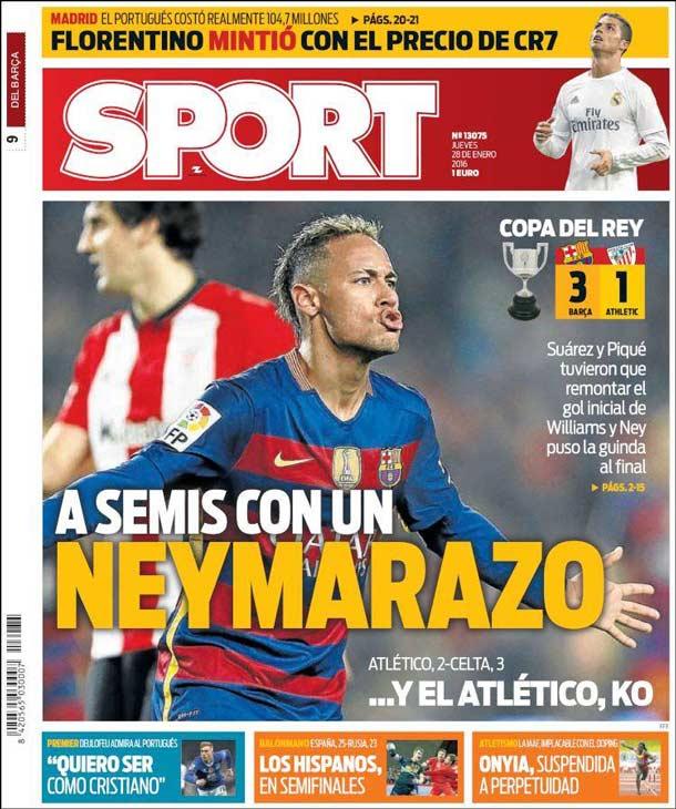 Portada del periódico Sport, jueves 28 de enero de 2016