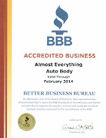 2013 BBB Better Business Bureau Accreditation for Almost Everything Autobody