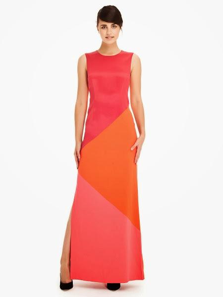 kırmızı sarı elbise modeli, maksi elbise, ipekyol 2014 elbise modelleri,