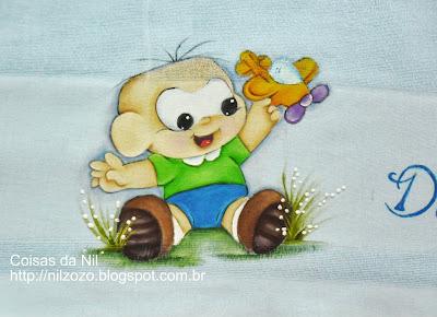 pintura do cebolinha baby com aviaozinho de brinquedo