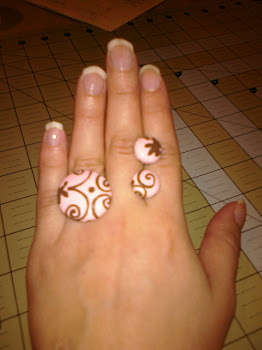 Button Style Ring and Earrings (brown and pink)