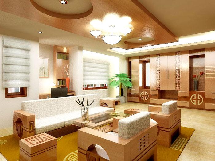 Thi công trần vách thạch cao đẹp cho phòng khách