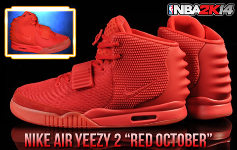 "NBA 2K14 Nike Air Yeezy 2 ""Red October"" Shoes Patch"