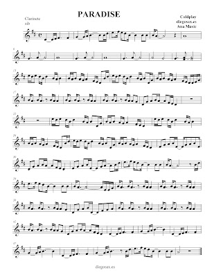 Paradise, de Colplay - Partitura para flauta, clarinete, saxofón, violín, trompeta, acompañamiento...