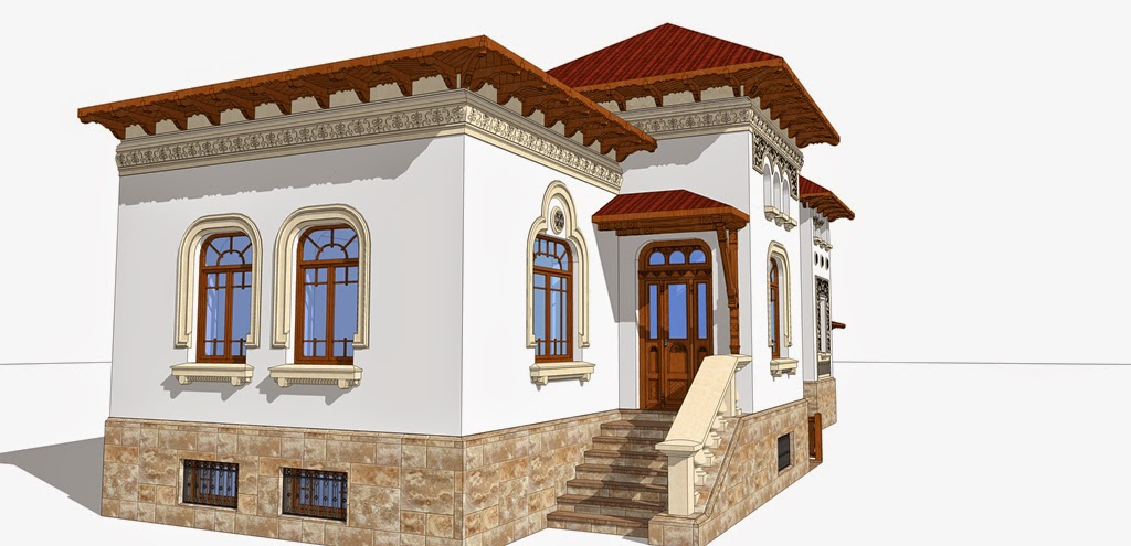 arhitect fatada casa neoromaneasca, profile decorative din polistiren in stil neoromanesc