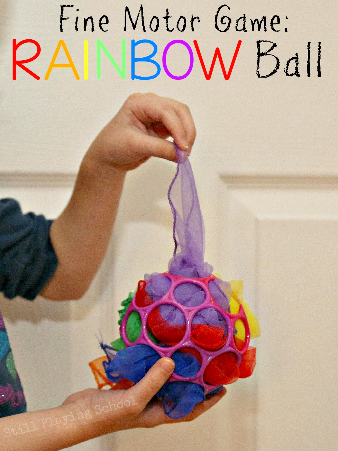Fine motor rainbow ball game still playing school for Small motor activities for infants