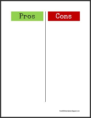 Pros And Cons Chart Possibilities and peas: free pros - cons printable