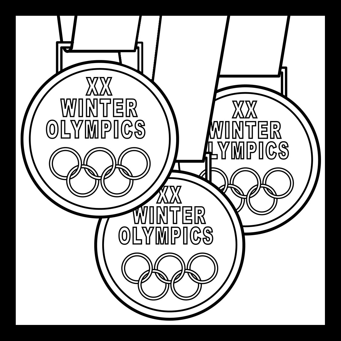 three olympic medals coloring pages
