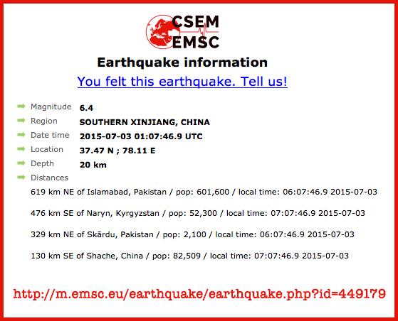 Earthquakes Hit, Gamma Prediction | S0 News July 3, 2015  Csem-xinjiang-quake