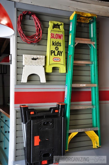 Garage wall organizer with ladder :: OrganizingMadeFun.com