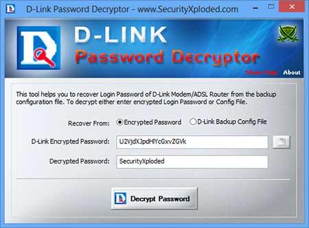 DLink Password Decryptor está mostrando a senha recuperado da Login Senha criptografada D-Link