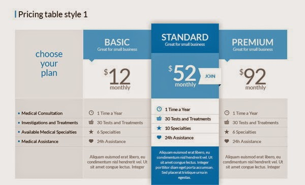 Free Pricing Tables 2in1 PSD
