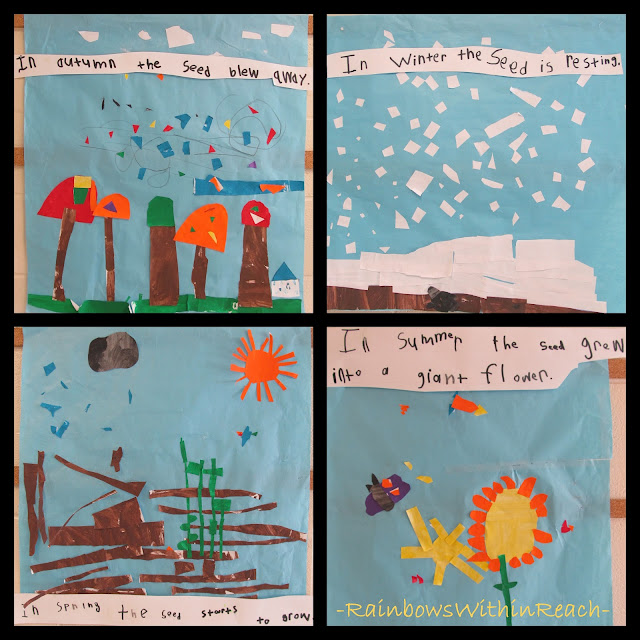 photo of: Four Seasons Art construction for Eric Carle's book, The Tiny Seed, kindergarten collaboration